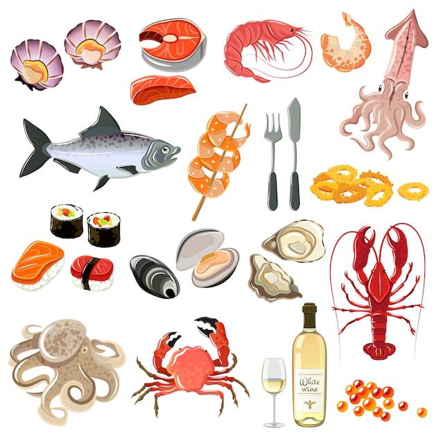 Meeresfrüchte-icons set Kostenlosen Vektoren