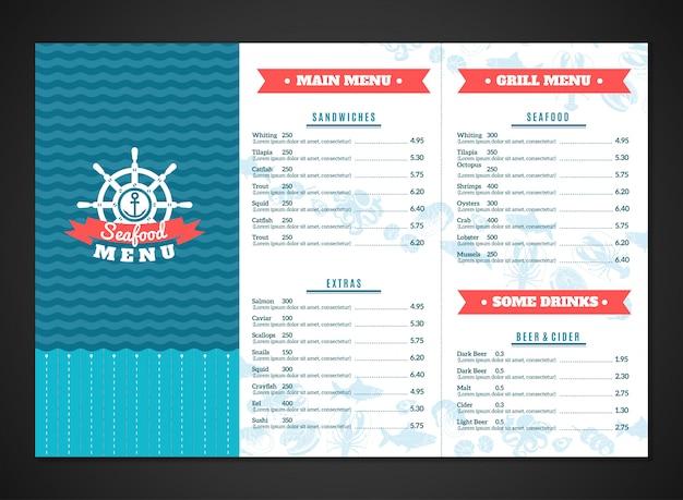 Meeresfrüchte-menü-vorlage Kostenlosen Vektoren