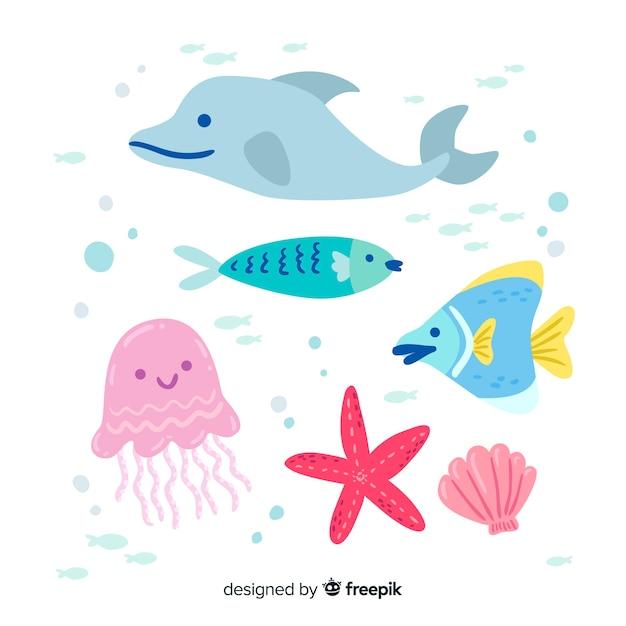 Meereslebewesen charakter sammlung Kostenlosen Vektoren