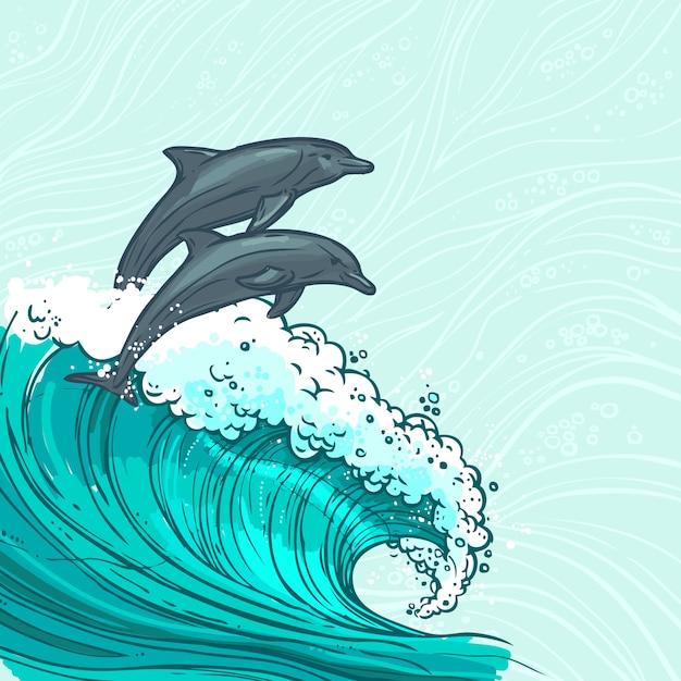 Meereswellen mit delphinillustration Kostenlosen Vektoren