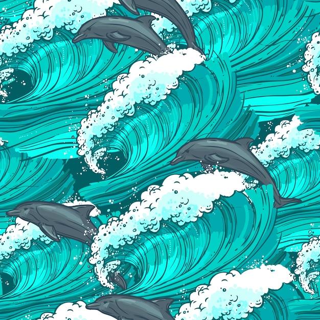 Meereswellen nahtlose muster Kostenlosen Vektoren