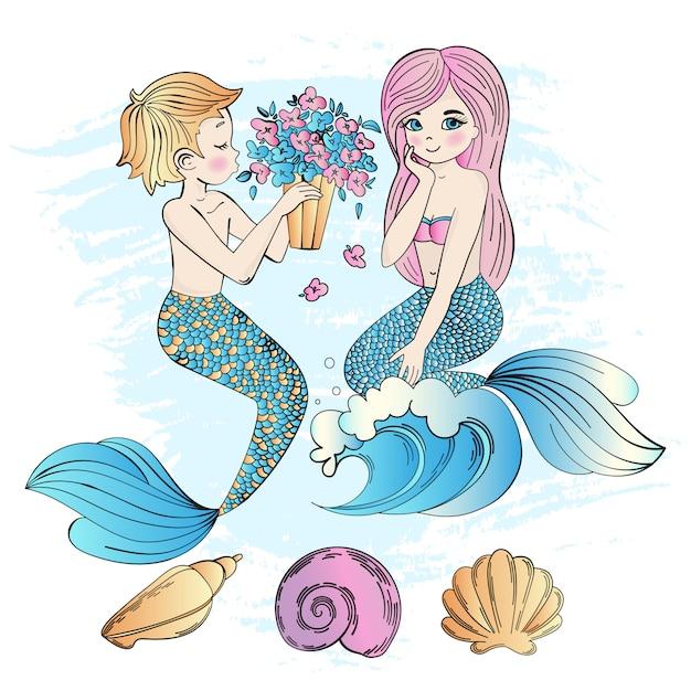 Meerjungfrau bouquet sea unterwasser-party Premium Vektoren