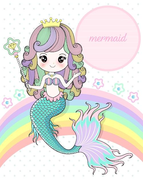 Meerjungfrau, die einen magischen stab hält Premium Vektoren