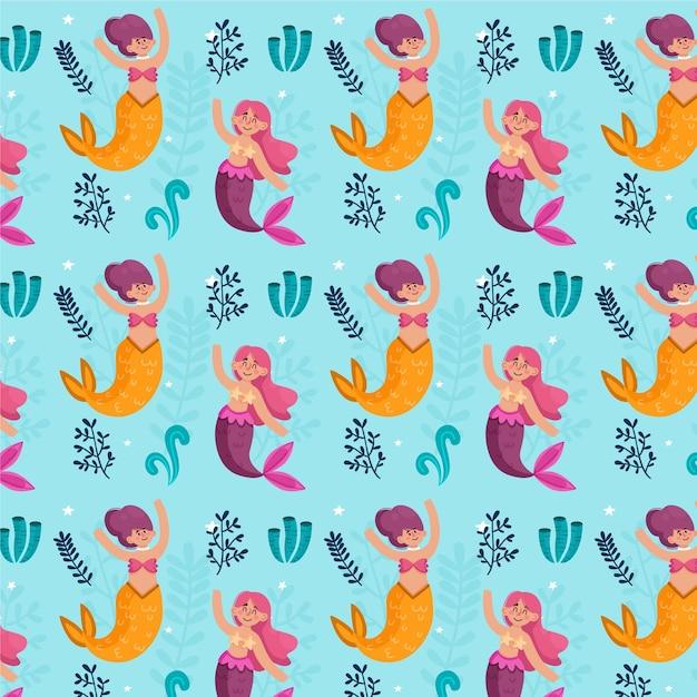 Meerjungfrau muster Kostenlosen Vektoren