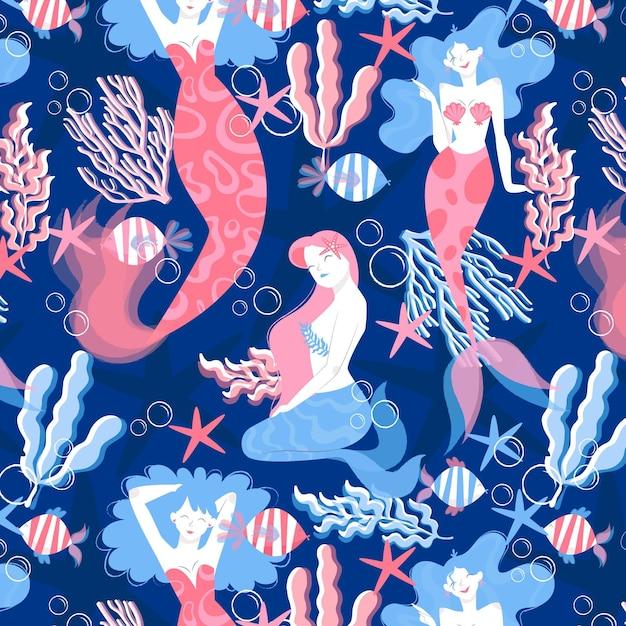Meerjungfrau musterkonzept Kostenlosen Vektoren