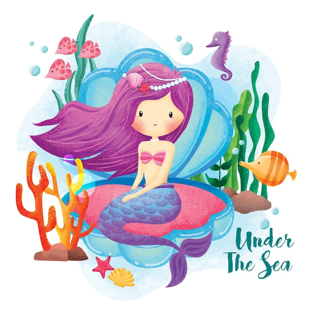 Meerjungfrau prinzessin unter dem meer illustration Premium Vektoren
