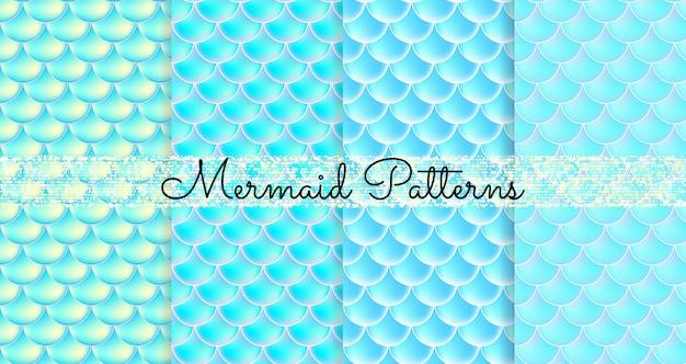 Meerjungfrau schuppen. fisch squama. satz blaue nahtlose muster. farbabbildung. aquarell hintergrund. skalendruck. Premium Vektoren
