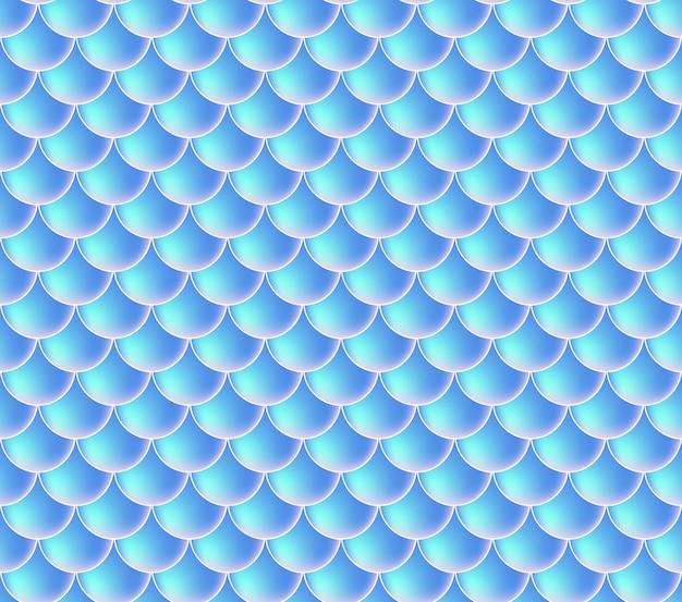 Meerjungfrau skalen. fisch squama. blaues nahtloses muster Premium Vektoren