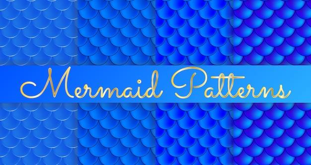 Meerjungfrau skalen. fisch squama. satz blaue nahtlose muster. Premium Vektoren