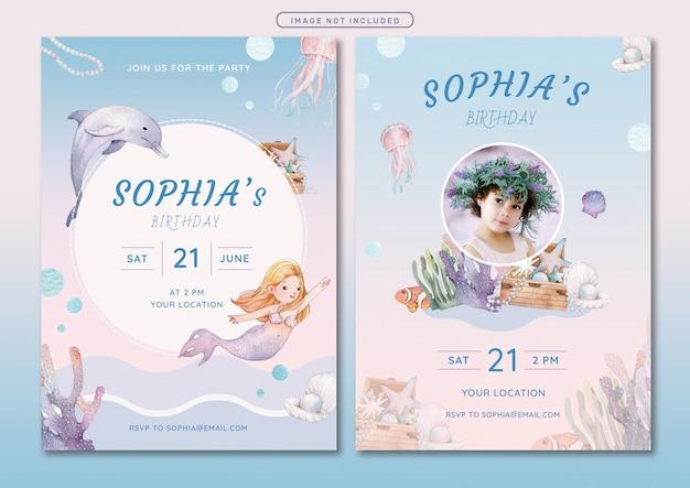 Meerjungfrau thema geburtstag einladungskarte vorlage Premium Vektoren