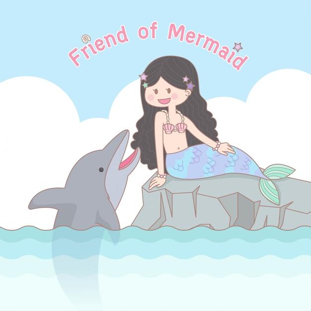 meerjungfrau und delfin  premiumvektor