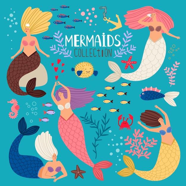 Meerjungfrauen eingestellt. meerjungfrau prinzessin, ozean mädchen sammelalbum elemente, vektor bikini sommer schwimmen hübsche sirenen mit fischschwanz Premium Vektoren