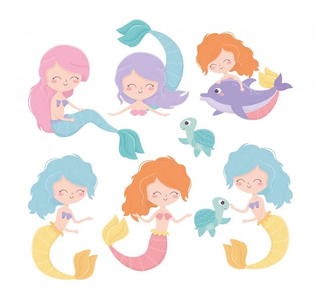 Meerjungfrauen-schildkröten-delphin-karikatur unter der seevektorillustration Premium Vektoren