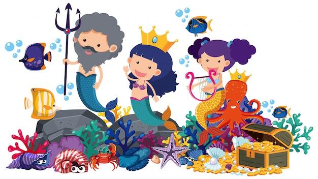 Meerjungfrauen und fische unterwasser auf weiß Premium Vektoren