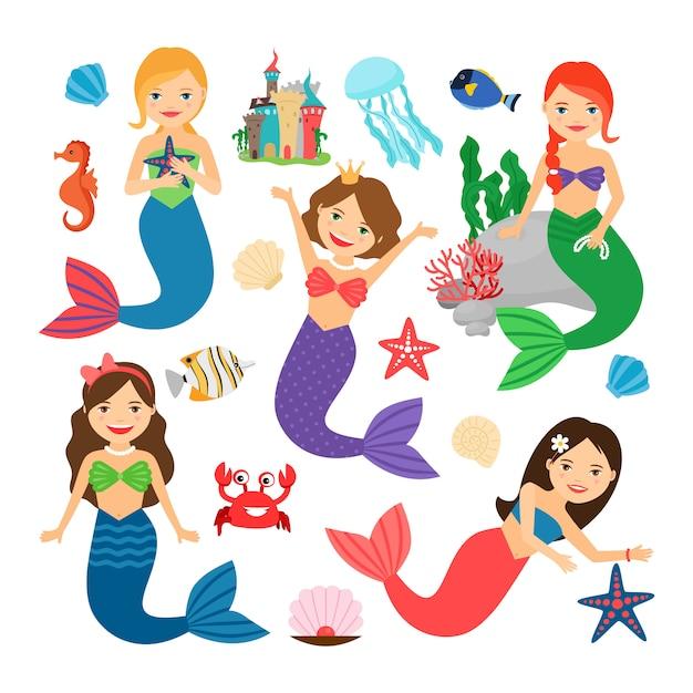 Meerjungfrauen zeichen gesetzt. Premium Vektoren