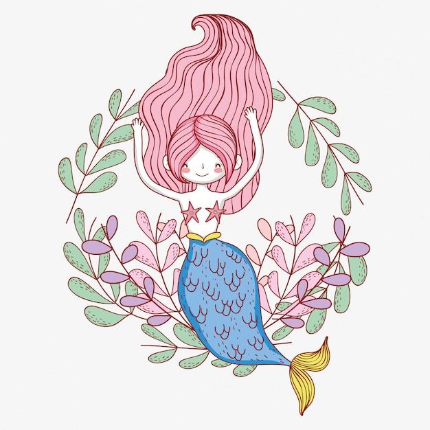 Meerjungfraufrau mit niederlassungsblattanlagen Premium Vektoren