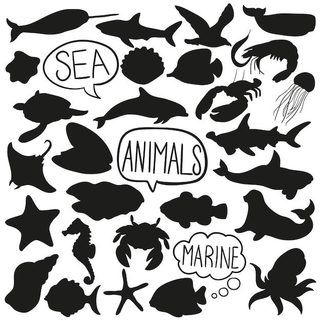 Meerwasser-tiere kritzeln schattenbild-vektor-klipp-kunst Premium Vektoren