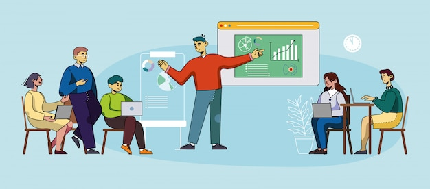 Meeting- und diskussionsentwicklungsprozesse. Premium Vektoren