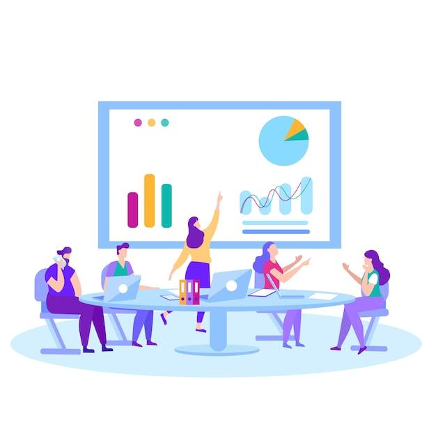 Meetings training marktanalyse-lösung Premium Vektoren