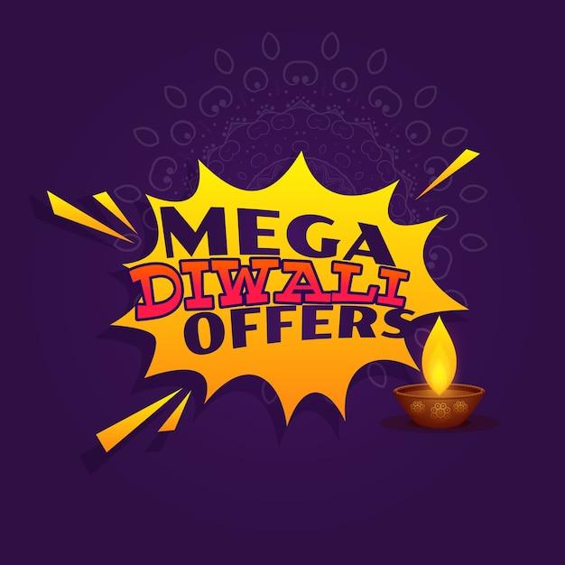 Mega Diwali Festival Angebot Verkauf Banner Vektor-Design Kostenlose Vektoren