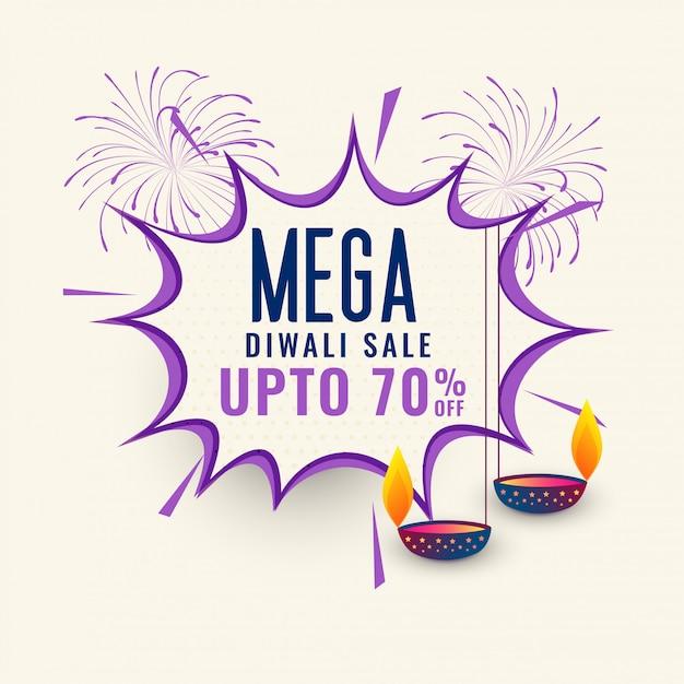 Mega diwali verkauf banner template design Kostenlosen Vektoren