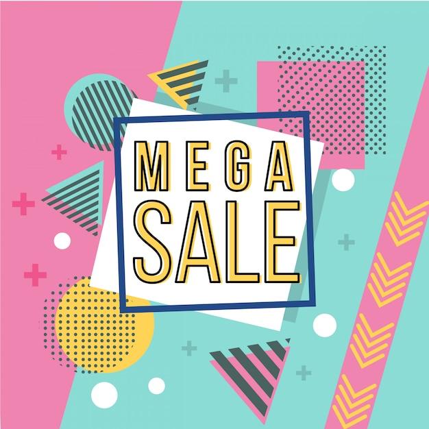 Mega sale banner im memphis-stil Premium Vektoren