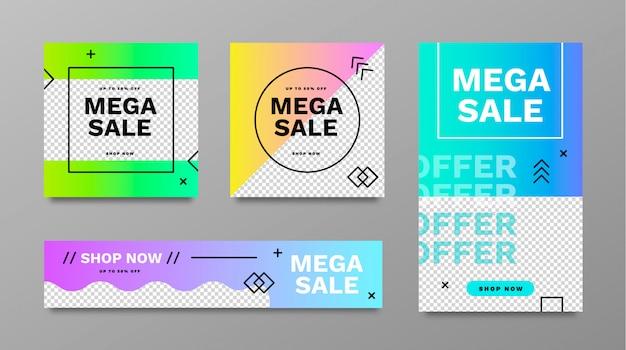 Mega sale banner sammlung mit abstrakten formen Kostenlosen Vektoren