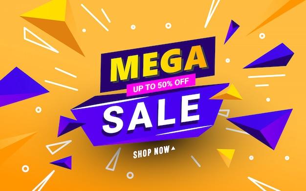 Mega sale banner vorlage mit polygonalen 3d-formen und text auf einem orangefarbenen hintergrund Premium Vektoren