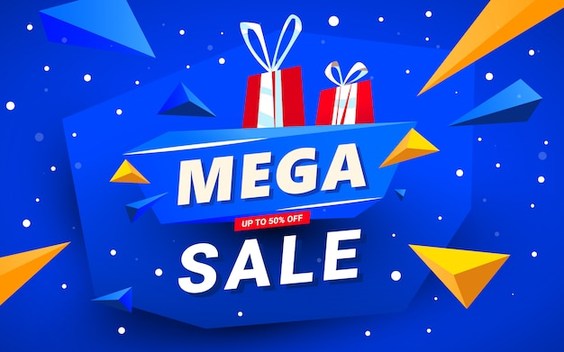 Mega sale banner vorlage Premium Vektoren