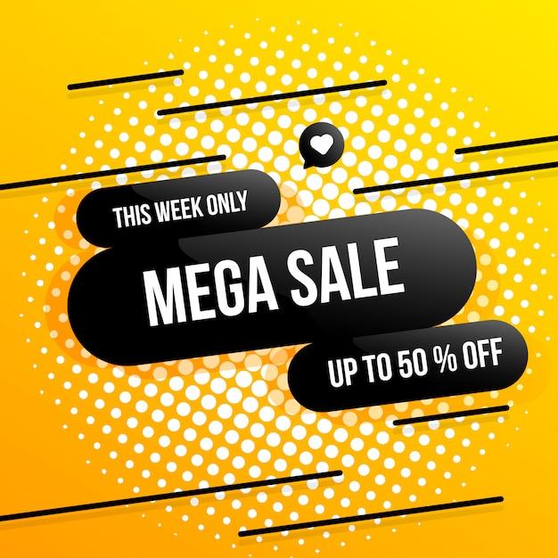 Mega sale bis zu 50% hintergrundabbildung Premium Vektoren
