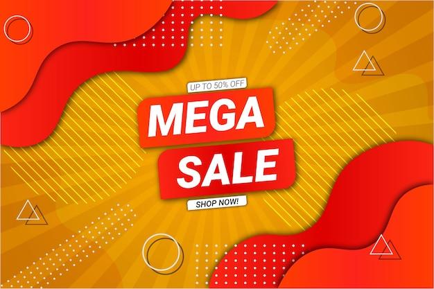 Mega sale hintergrund gelb und orange fluid style Premium Vektoren