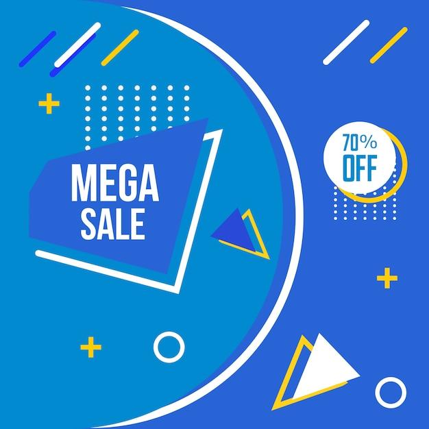 Mega sale memphis style hintergrund Premium Vektoren