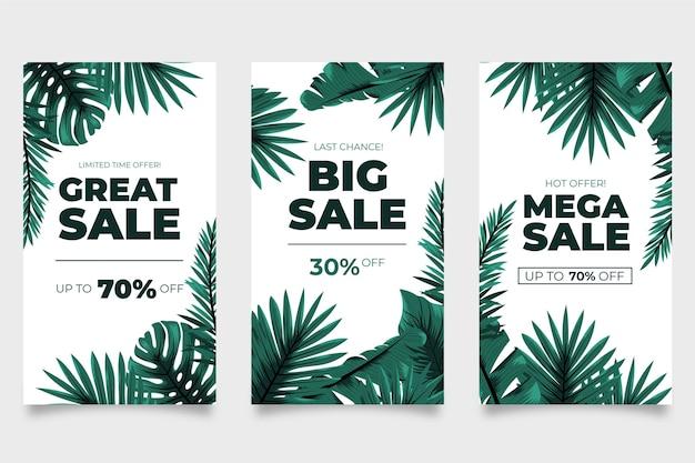 Mega sales tropical verlässt instagram-geschichten Kostenlosen Vektoren