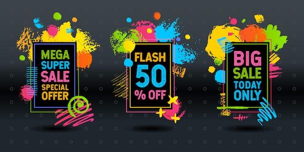 Mega super big flash verkauf pinselstrich rahmen abstrakte dynamische kreide tafel grafiken bunte elemente design-geschäft Premium Vektoren