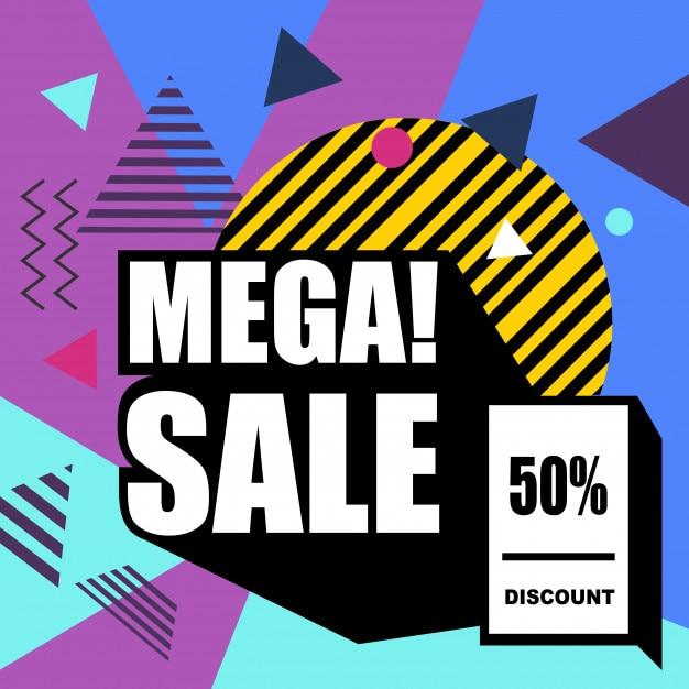 Mega-verkauf memphis stil web-banner. Premium Vektoren