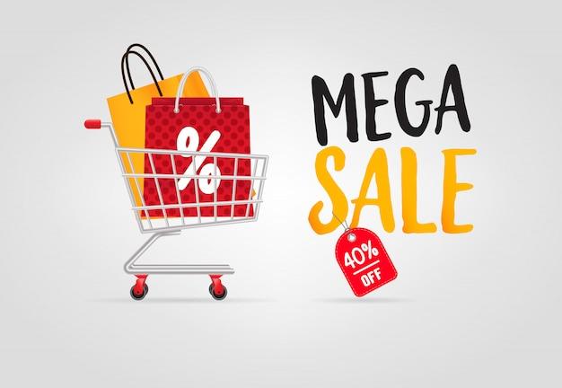 Mega-verkauf-schriftzug mit einkaufstüten im warenkorb Kostenlosen Vektoren
