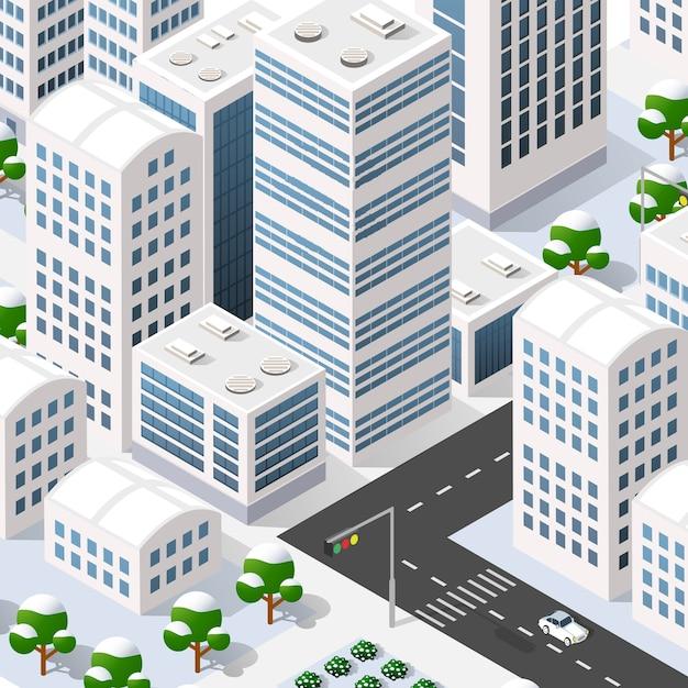 Megapolis 3d isometrisch Premium Vektoren