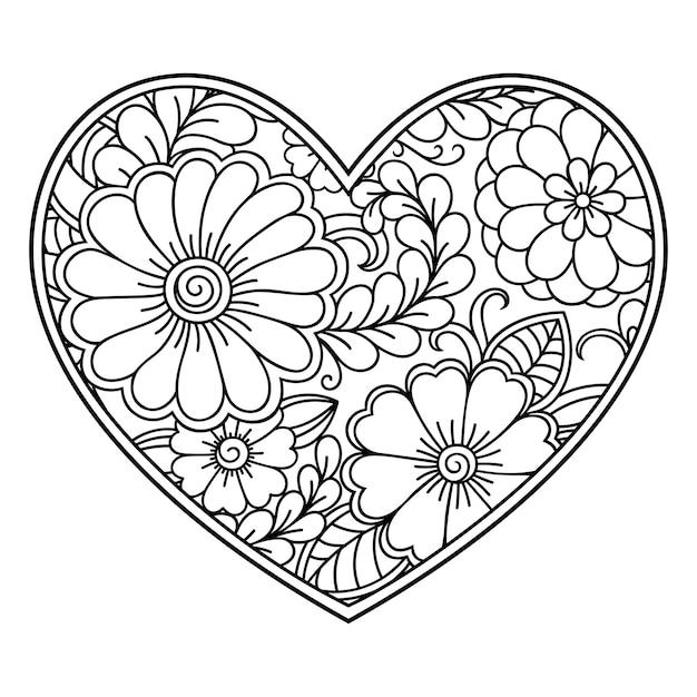 Mehndi blumenmuster in form des herzens mit lotus. dekoration im ethnisch orientalischen, indischen stil. malbuchseite. Premium Vektoren