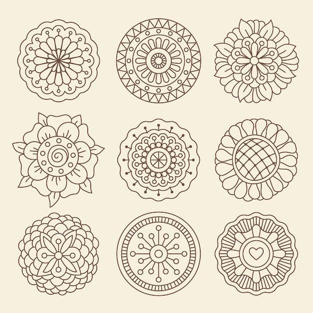 Mehndi indian henna tattoo blumen Premium Vektoren