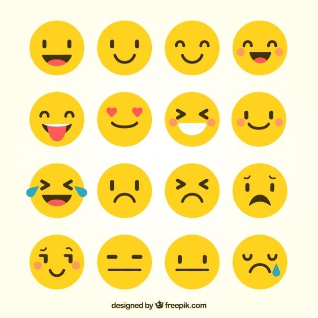 Mehrere Emoticons in flachen Stil Kostenlose Vektoren