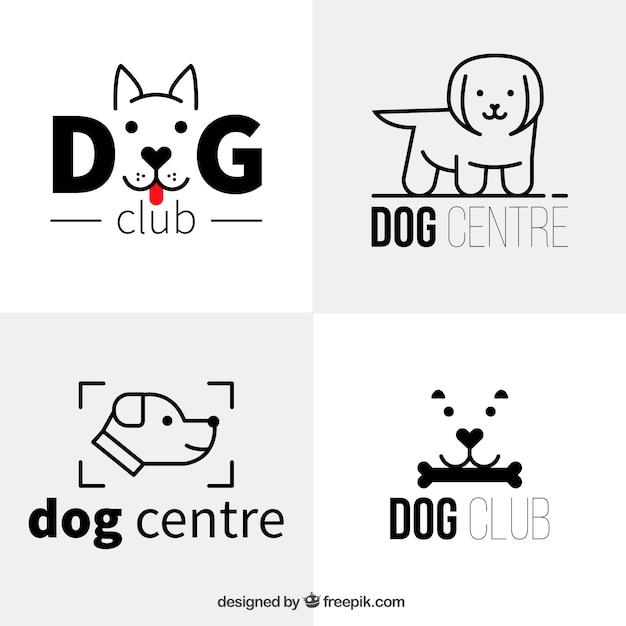 Mehrere flache hund logos im minimalistischen stil Kostenlosen Vektoren