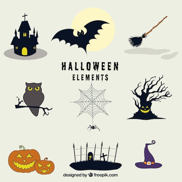 Mehrere gruselige Objekte bereit für Halloween | Download der ...