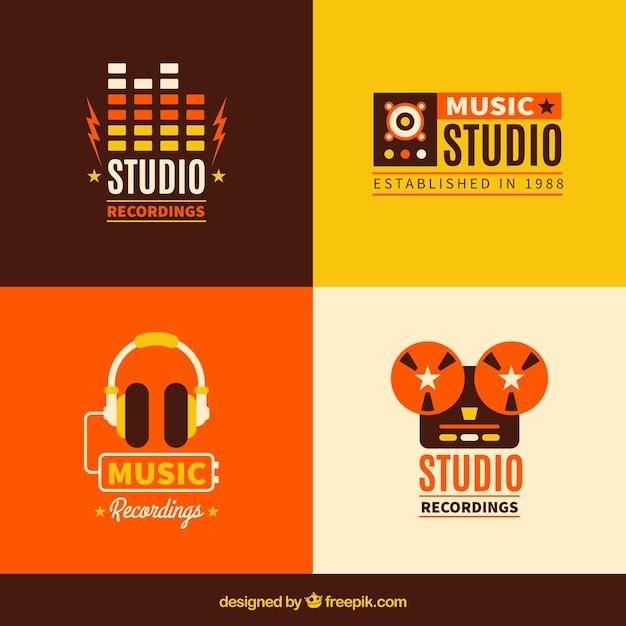Mehrere musik logos im vintage-stil Kostenlosen Vektoren