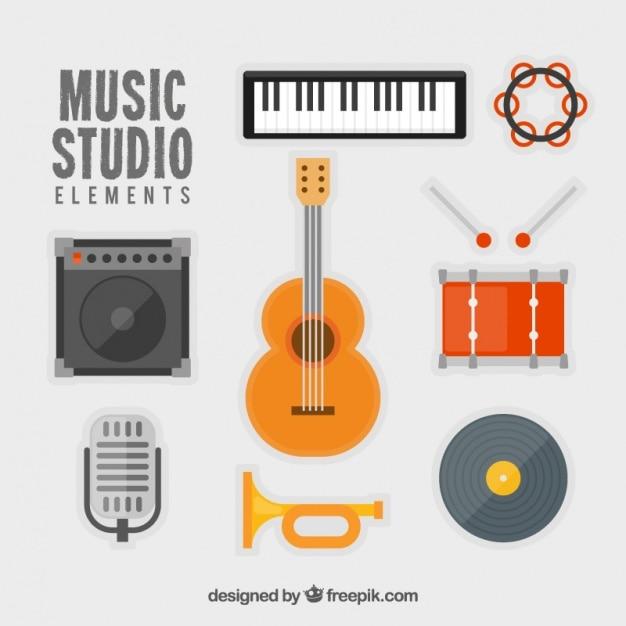 Mehrere musikinstrumente in flaches design Kostenlosen Vektoren
