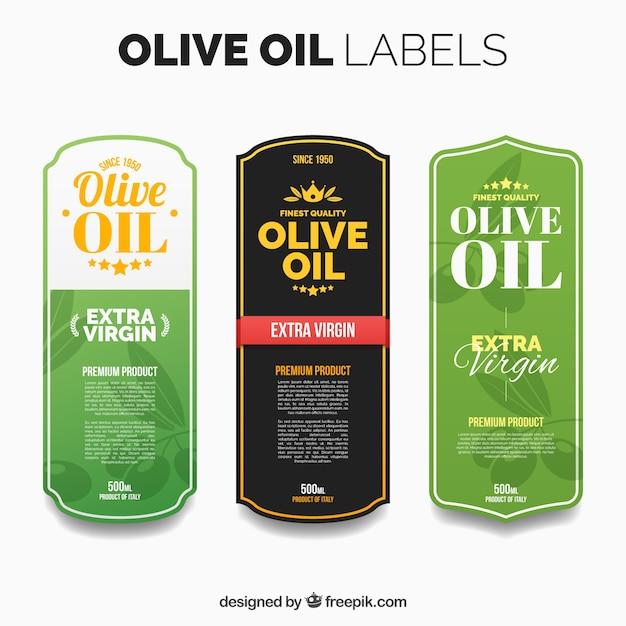 Mehrere olivenöl-etiketten mit farbdetails Premium Vektoren