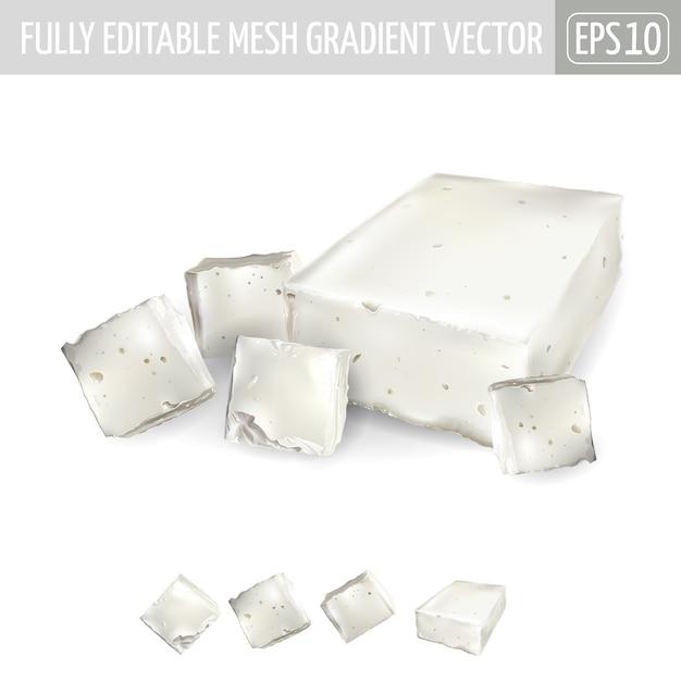 Mehrere stücke feta-käse auf weißem hintergrund. Premium Vektoren