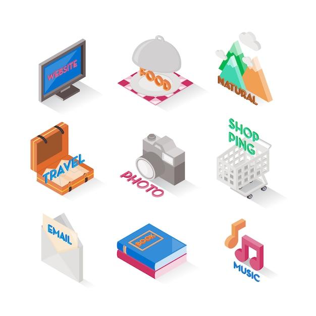 Mehrere symbol isometrische stile. satz von niedlichen symbolen. online-shopping-symbol. Premium Vektoren