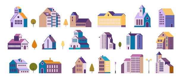 Mehrfamilienhäuser s gesetzt Kostenlosen Vektoren