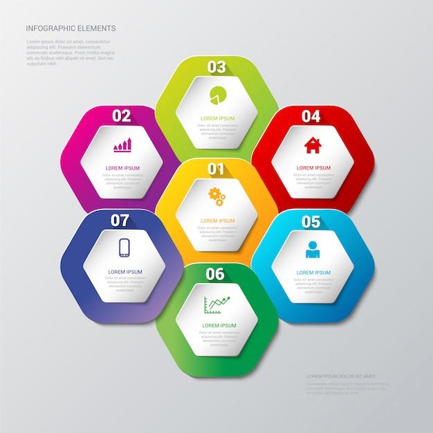 Mehrfarbenschritte verarbeiten auf bienenwabensechseckaufkleber infographics schablone Premium Vektoren