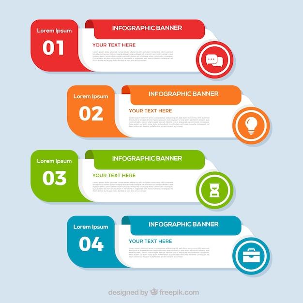 Mehrfarbige infografikfahnen Kostenlosen Vektoren
